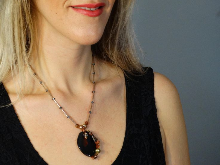Brown Agate Necklace and Wired Wrapped Gemstones - Cleavage Necklace - Gemstone Necklace -