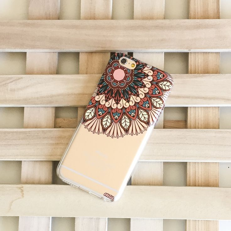 Clear Plastic Case Cover for iPhone 5 5S - (Henna) Floral Mandala