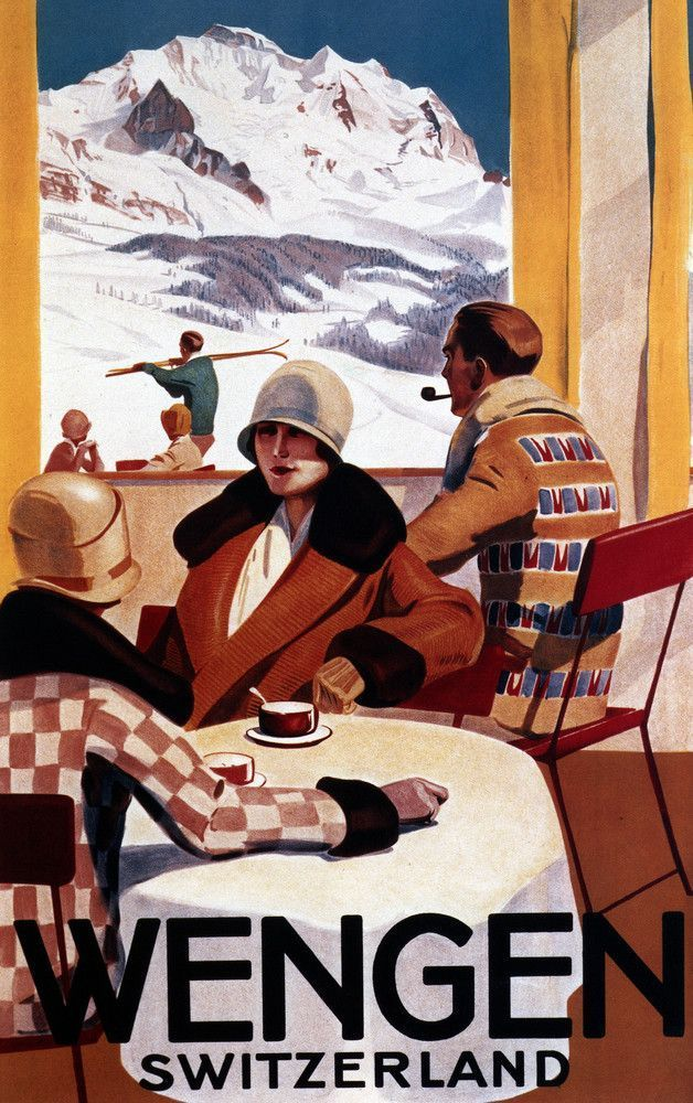 Wengen, Switzerland - Interior View of Wengen Downhill Club- Vintage Travel Poster