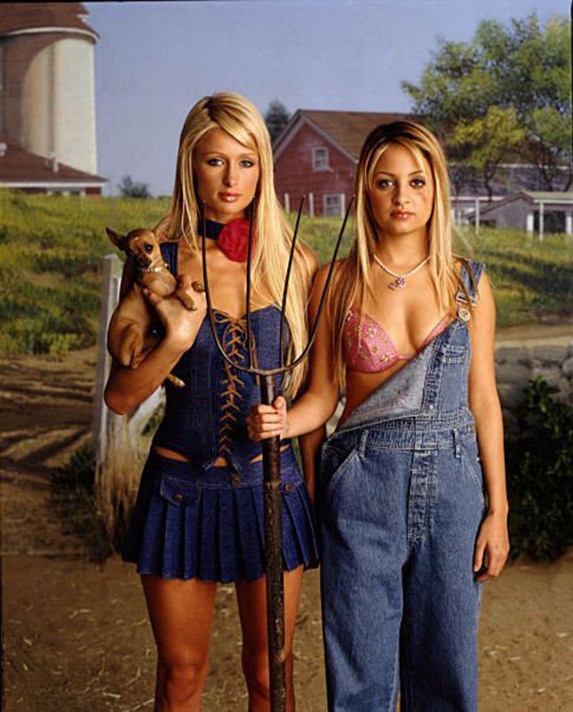 Go full-on throwback as The Simple Life era Paris Hilton + Nicole Richie for Halloween.