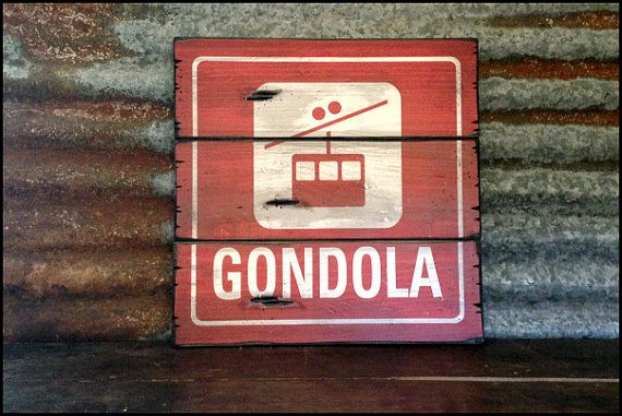 Large Gondola Handcrafted Rustic Wood Sign  by AlpineGraphics