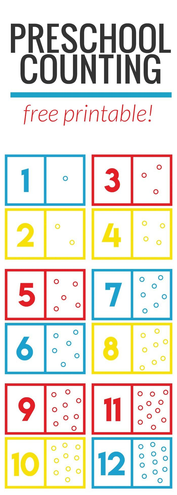 Cute preschool math / counting printable! Cut the cards out and have the child count the dots while putting their favorite treats on the dots!