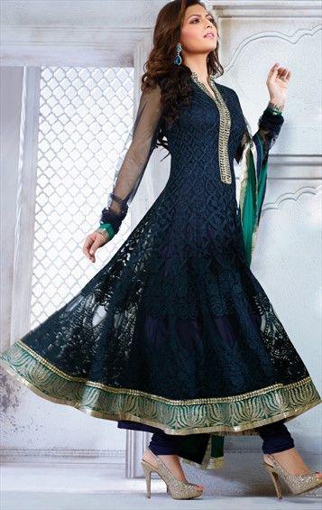 419300, Anarkali Suits, Bollywood Salwar Kameez, Net, Resham, Blue Color Family