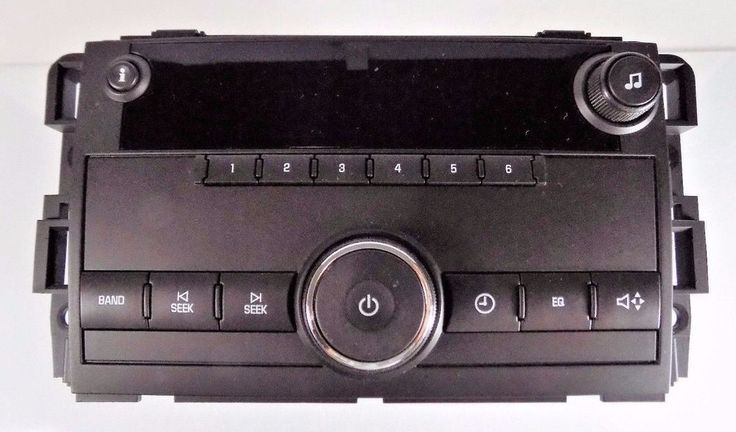 #GMC Delphi Delco Electronics Systems OEM clock and AM/FM radio with clean and classic solid black design, white lettering and imprinting, #GM replacement part number no. 25942014 and Delphi part number no. 28162319 compatible with #Chevy and #Chevrolet Silverado, Sierra, Savana, Express vans and other #cars and #vehicle models, excellent used condition…