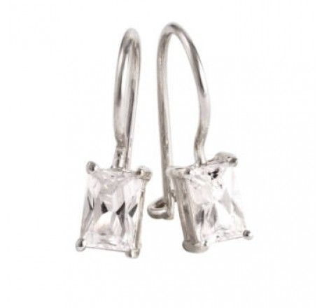 Rectangle Prong Set Cubic Zirconia Hangers