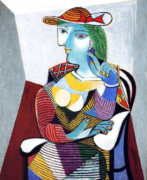 1937 'Portrait de Marie-Thérèse', Pablo Picasso (Spain 1881~1973 France) | Marie-Thérèse Walter (1909~1977) was the French mistress and model of Pablo Picasso from 1927 to about 1935, and the mother of his daughter, Maya Widmaier-Picasso. Their relationship began when she was 17 and he was 45, still living with his first wife, Olga Khokhlova.
