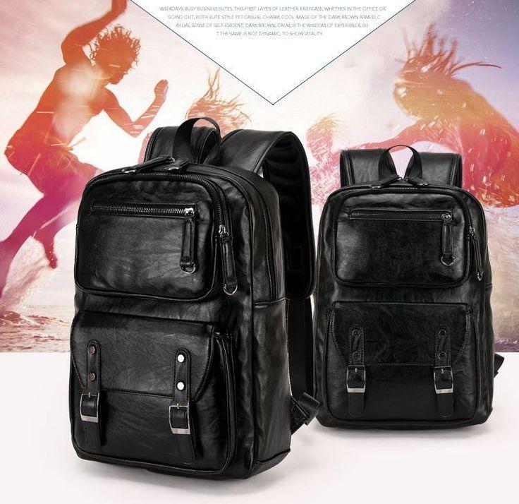 High Quality Men Vintage Backpack School Bag Fashion Travel Backpacks Faux Leath