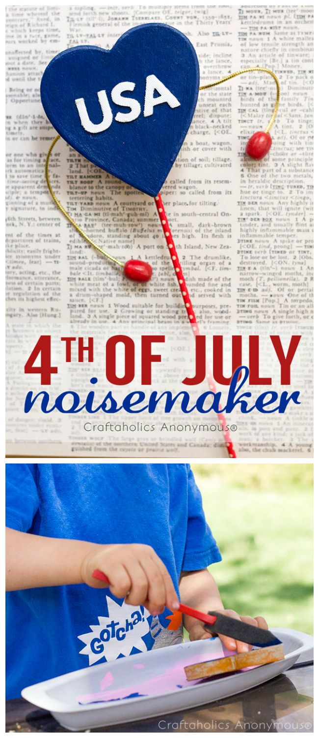 Fun 4th of July craft idea for kids- DIY noisemakers! #4thofjuly #craft