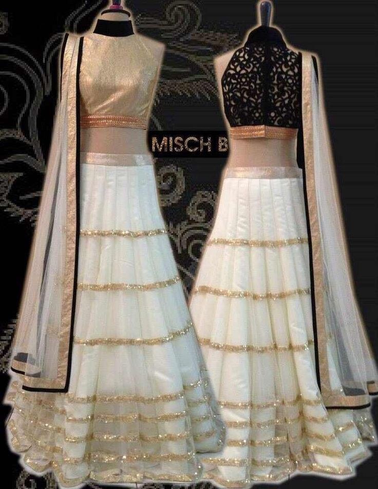 Gold and Black Simple Lengha