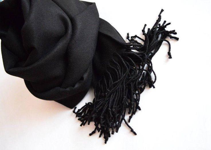 Cashmere Stole. Cashmere Scarf. Cashmere Wrap. Black scarf. by VUGASHOP on Etsy