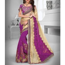 Purple and Cream Color Georgette Fabric #DesignerSaree