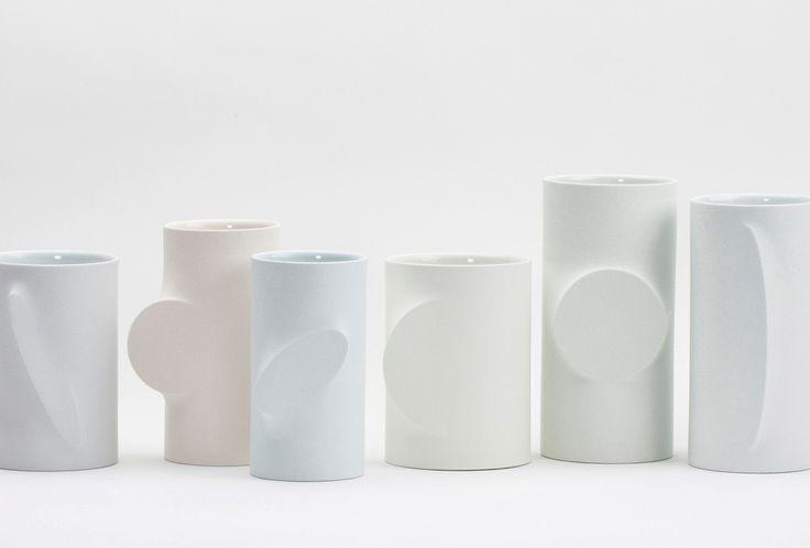 Vessels <em>Re-Formed</em>, 2014. White porcelain, slip casting, transparent glaze, various sizes. I Jeong Won Lee