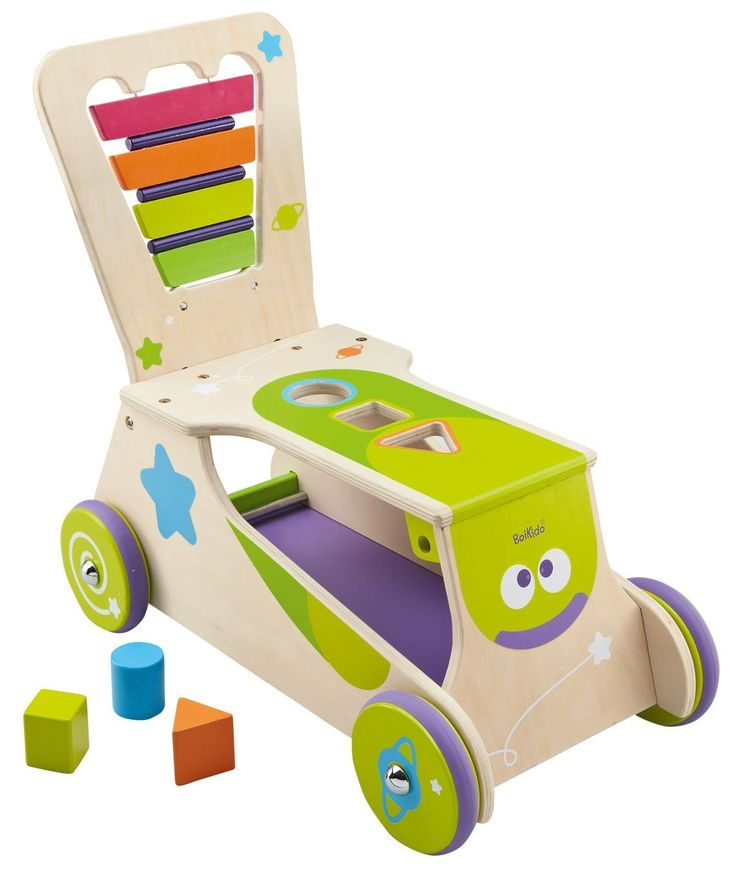 BOIKIDO WOODEN 2in1 WALKER/RIDE      2-in-1 walker and ride-on     Helps kids to walk their first steps and improve balancing     Comes with build-in xylophone with 2 drumsticks and shape sorter for motor skills development     Tested to meet European and U.S. safety standards     Easy to assemble