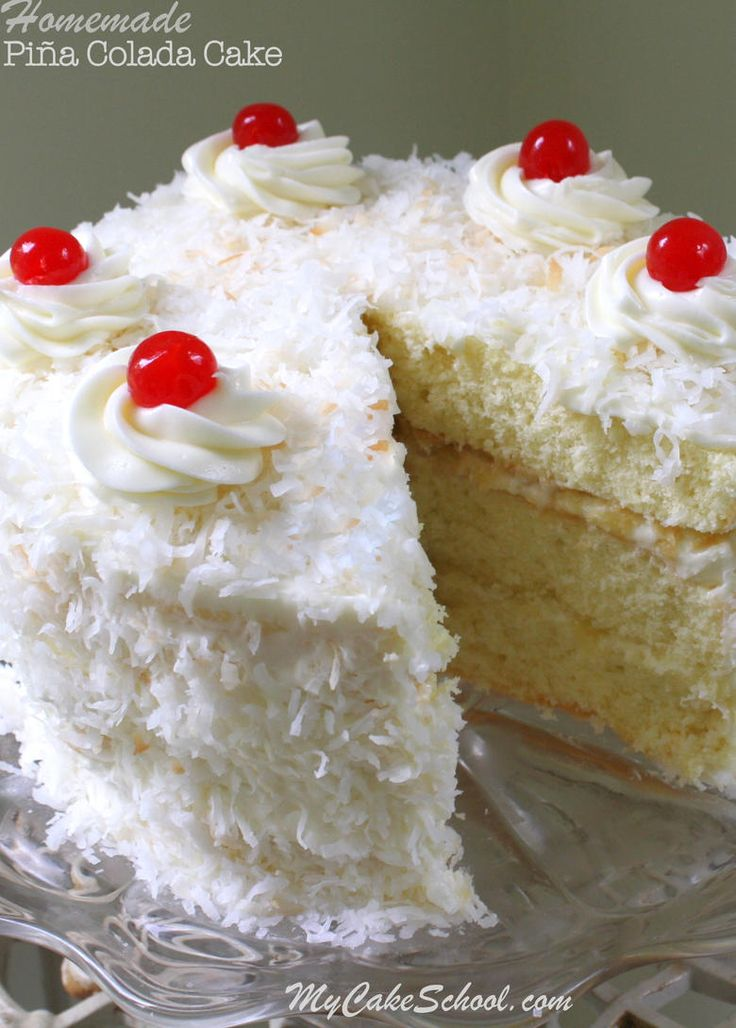 Moist and Flavorful homemade Piña Colada Cake from Scratch! Recipe by My Cake School.