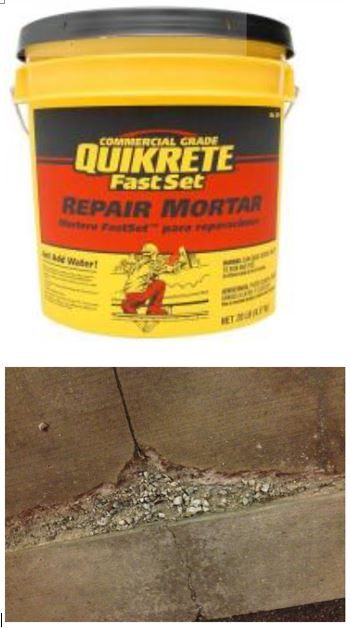 """QUIKRETE FastSet Repair Mortar ~ 20 lb 124120 is $11.39 ~ 3 lb 124115 is $7.28 ~ For repairing structural concrete. 20 to 30 min working time. For horizontal, vertical and overhead applications.  According to Q&A, it's suitable for the damage shown, which is 3.5 ft x 8"""", max depth 2"""", min depth feathered. Commercial Grade is high-strength polymer modified, rapid-setting special-formulated for structural repairs to any concrete or masonry surface. Not waterproof; should be sealed."""