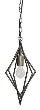 10-3/4L x 9-1/4W x 15-1/4H Metal Rhombus Shaped Pendant Lamp (40 Watt Bulb Maximum, UL Listed)
