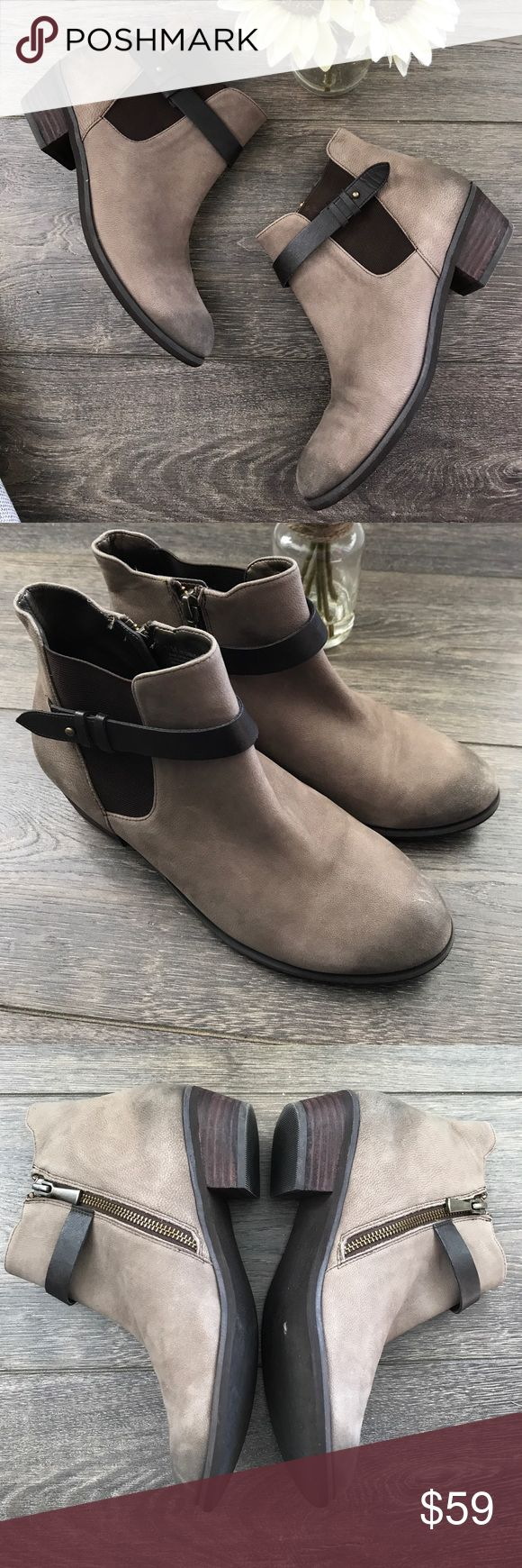 """BP Nordstrom taupe ankle boots booties EUC, couple light scratches on toes but no major flaws, light neutral taupe/grey color, 1.5"""" heel, round toe, side zip, leather upper bp Shoes Ankle Boots & Booties"""