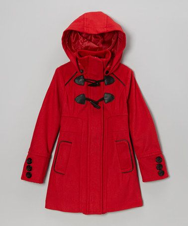 Look what I found on #zulily! Red Toggle Hooded Coat - Toddler & Girls by Yoki #zulilyfinds