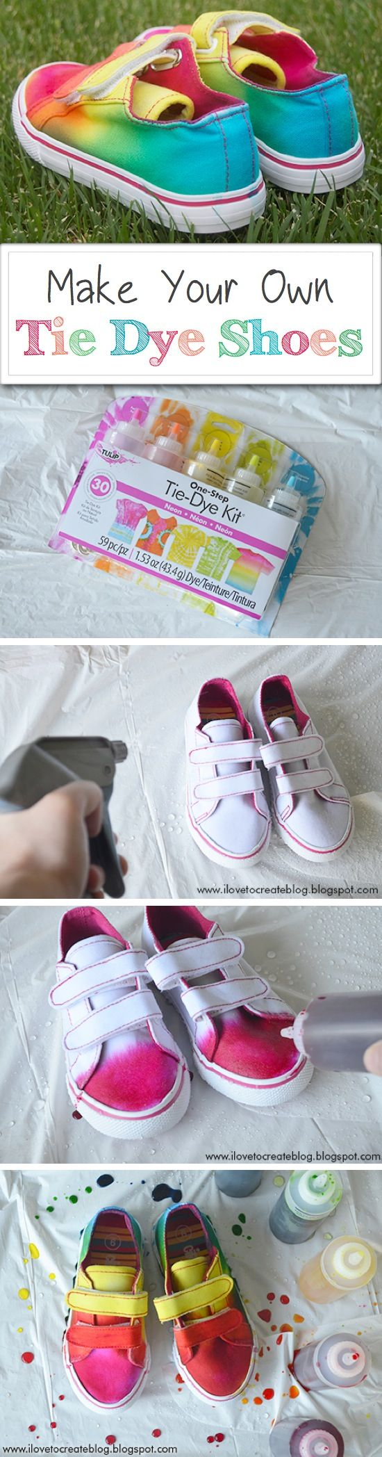 Make Your Own Tie Dye Shoes Tutorial on I Love to Create at http://www.ilovetocreateblog.blogspot.com/2013/05/how-to-make-rainbow-tie-dye-shoes.html