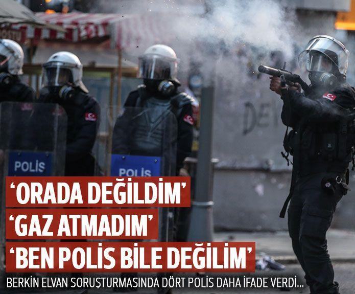 Berkin soruşturmasında 4 polis daha ifade verdi: Biz de orada değildik  13/03/2014 16:02 A+ A- Berkin Elvan soruşturmasında bugün 4 polis daha ifade verdi. Polislerin tümü Okmeydanı Eren Sokak civarında bulunmadıklarını, ikisi ise gösteriler boyunca gaz tüfeğini hiç kullanmadığını öne sürdü. http://www.radikal.com.tr/turkiye/berkin_elvan_sorusturmasinda_bugun_5_polis_ifade_verdi-1181086