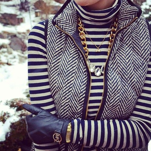 Love these gloves! Navy blue, striped top, herringbone vest, and gold statement necklace                                                                                                                                                                                 More