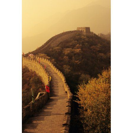China Mu Tian Yu The Great Wall With Misty Yellow Sky Flags Along Wall Canvas Art - Richard Maschmeyer Design Pics (22 x 34)