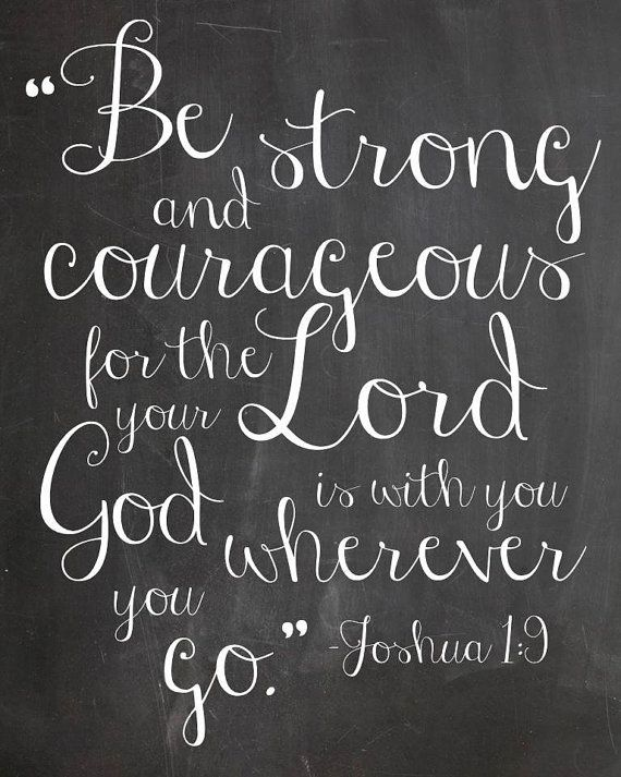 INSTANT DOWNLOAD Joshua 1:9 print, Be Strong and Courageous, Chalkboard print, scripture verse print on Etsy, $5.00