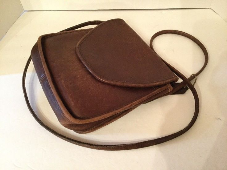 "Rare Vtg COACH ""Leatherware"" Mocha Distressed Leather Crossbody Bag ~ USA #Coach #MessengerCrossBody"