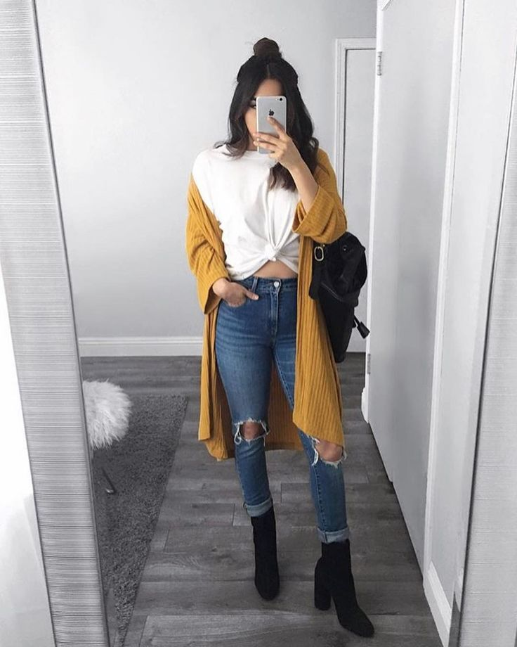 white crop top | distressed high waisted blue jeans | mustard cardigan-#cardigan…