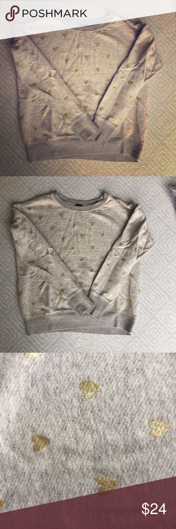 Ladies J Crew Cotton Sweatshirt, Gray with 💛 Ladies gray sweatshirt with gold Metallic hearts, size small. 100% Cotton. J. Crew Tops Sweatshirts & Hoodies