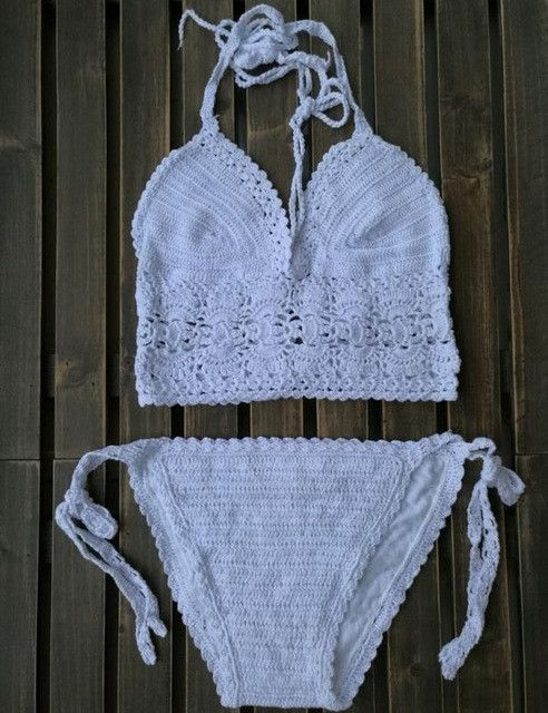 Hand crochet bikini retro top triangle bikini set halter women's swimsuit bath white bathing suit crochet swimwear women