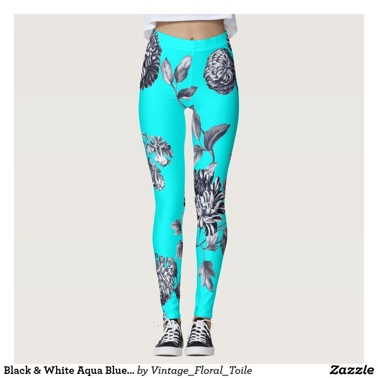 Black & White Aqua Blue Botanical Floral Toile