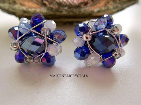 Blue Crystal Studs Swarovski Blue Rainbow by MARTINELICRYSTALS