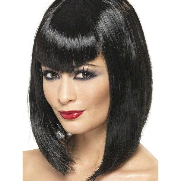 Halloween Ladies Vamp Black Wig ($12) ❤ liked on Polyvore featuring beauty products, haircare and hair styling tools