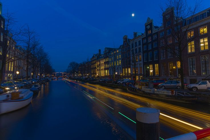 Herengracht in Amsterdam during Blue Hour by Maarten Hoek on 500px