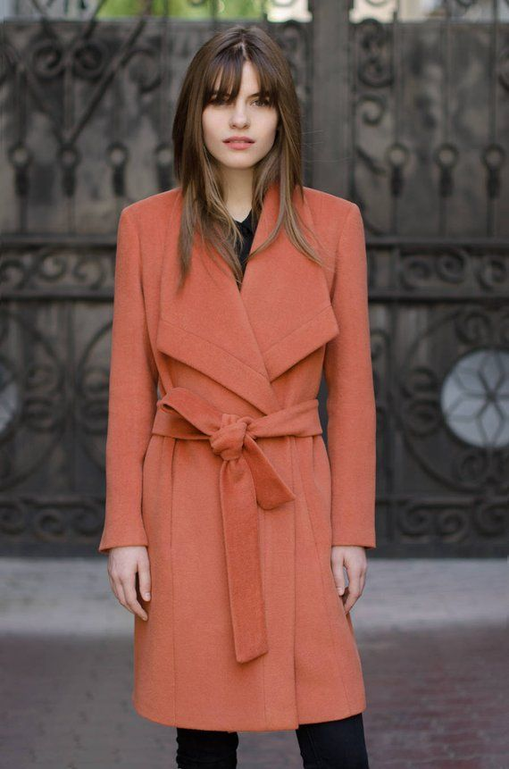 2ead50d8e69 Terracotta coat cashmere coat woman coat wool coat