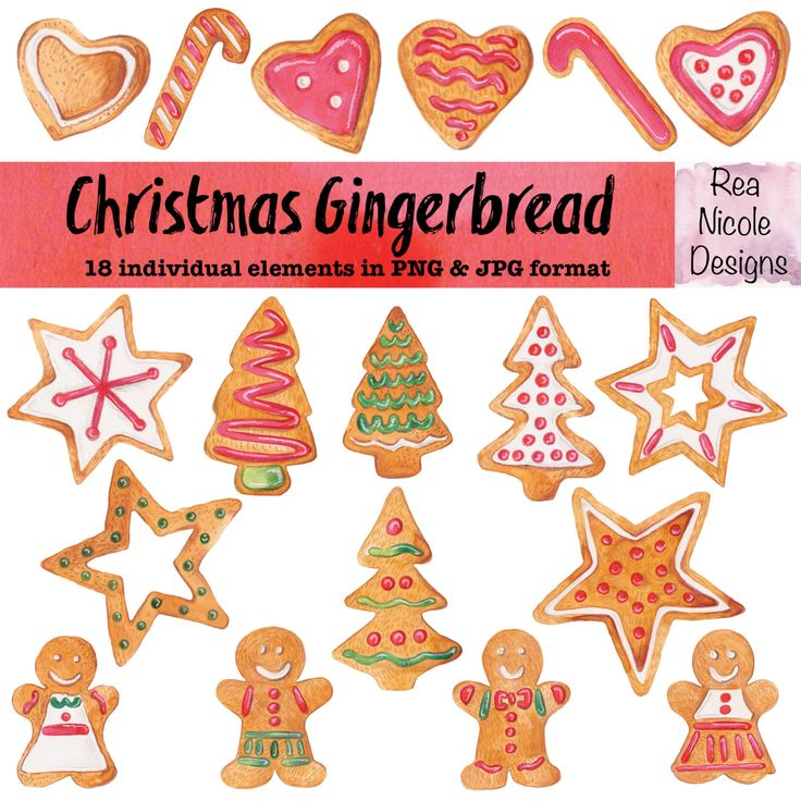 Christmas Gingerbread Clipart - handdrawn watercolor clipart, perfect for scrapbooks,digital projects,planners,craft projects, printable art by ReaNicoleDesigns on Etsy
