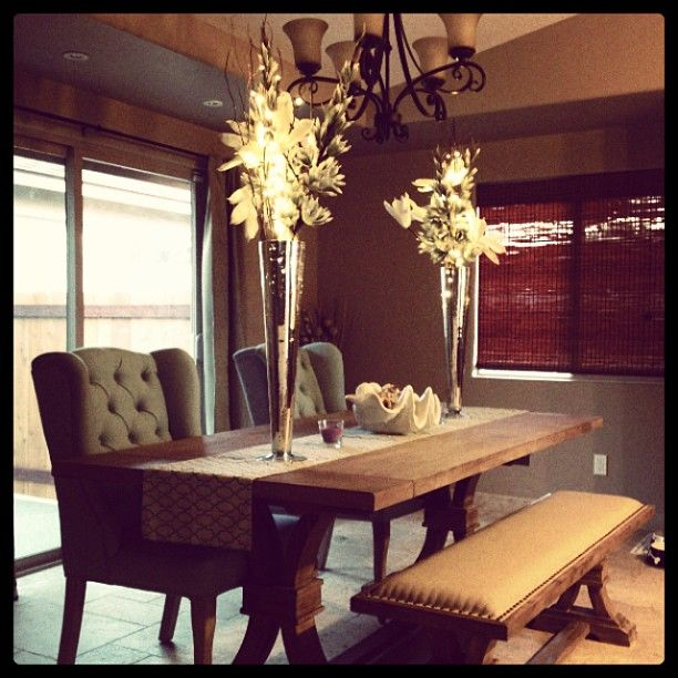 Ashley shows off her new dining room complete with for Dining room z gallerie
