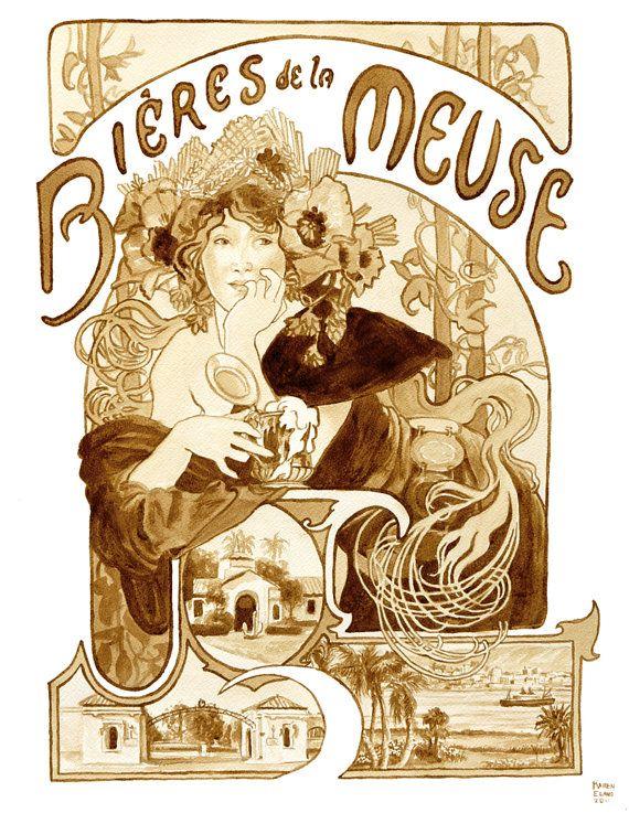 art de la bière, Bieres de la Meuse, Jugendstil affiches peintes à l
