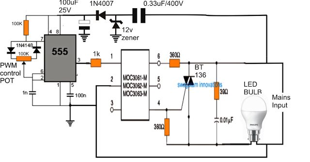 Dimmer Circuit For Led Bulbs Led Bulb Circuit Projects Dimmer