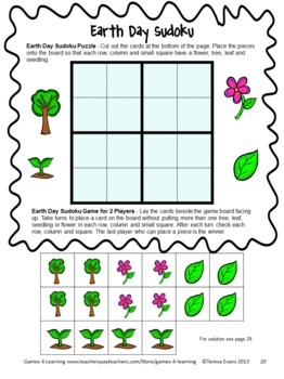 Earth Day Sudoku from Earth Day Math Games and More by Games 4 Learning. Earth Day math board games and puzzles! $