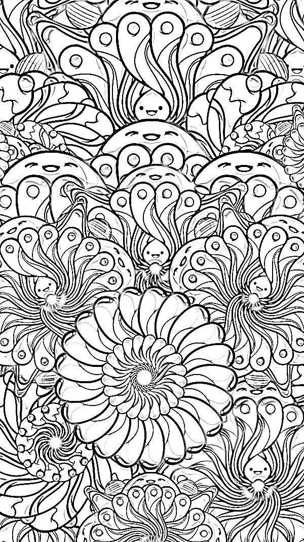 abstract doodle zentangle paisley coloring pages colouring adult detailed advanced printable