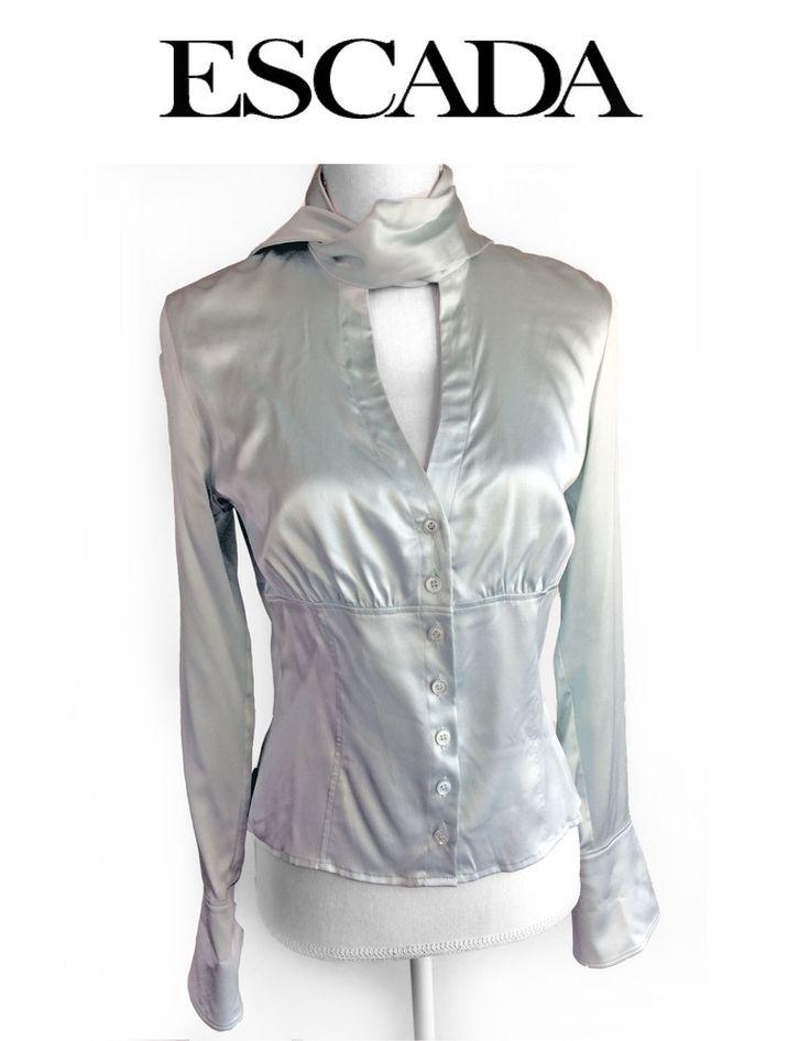 Vintage Silk ESCADA Fitted Empire Button Ascot Tie Collar Bell Cuff Blouse #ESCADA #Blouse #LuxeCella