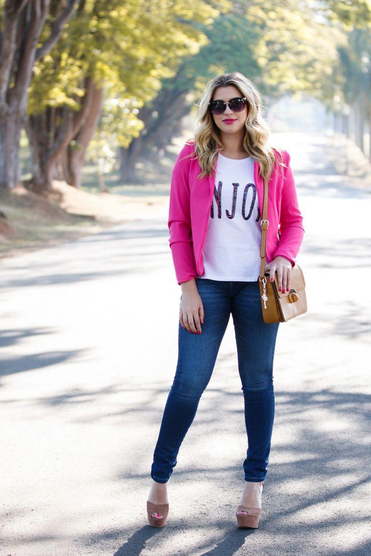 look do dia jeans blazer rosa look do dia jeans blazer rosa niina ...