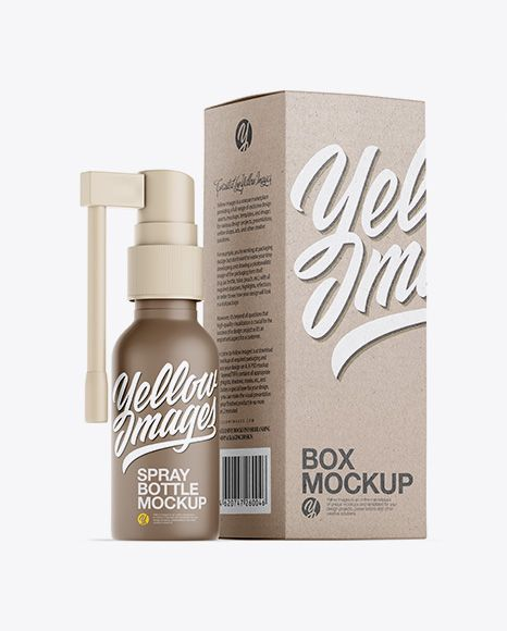 Download Free Mockups Matte Spray Bottle W/ Kraft Box Mockup Object ...