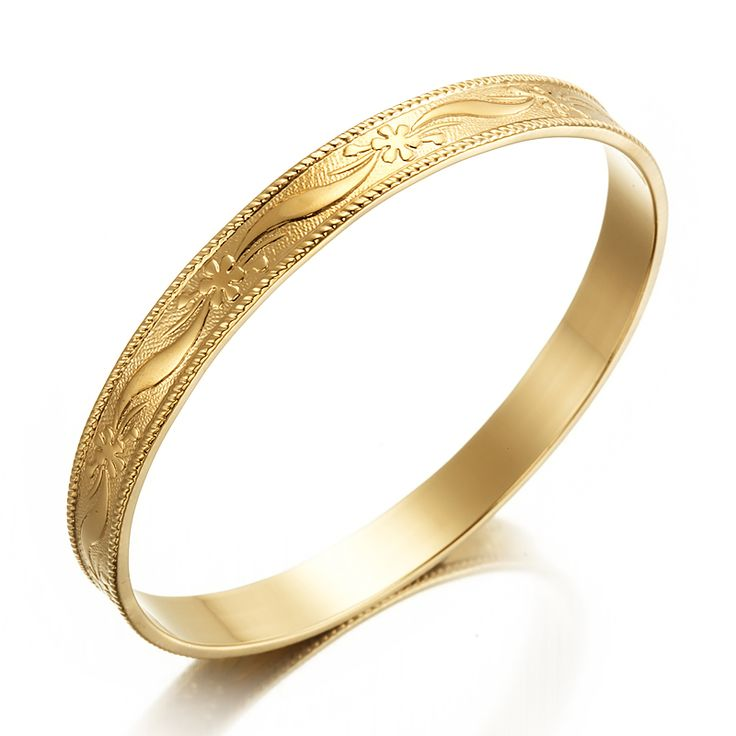18ct Yellow Gold Layered Wide Filigree Bangle | Allure Gold