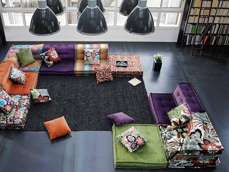 Scarica il catalogo e richiedi prezzi di Roche Bobois divano componibile in tessuto Mah jong missoni home, design Hans Hopfer, collezione Les Contemporains