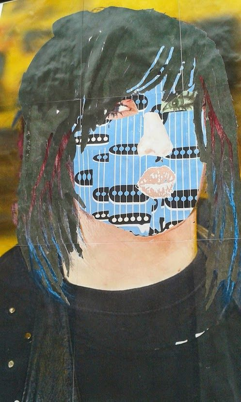 Selfie image using mixed media for effect
