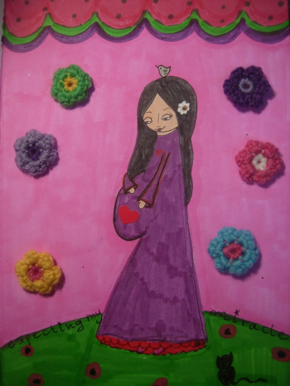 Expecting MY Miracle  mixed media art print  by a Pink by eltsamp, $20.00
