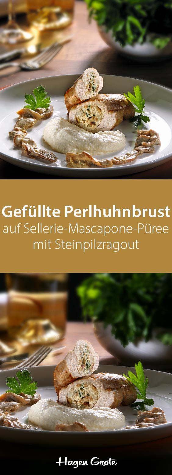 Gefüllte Perlhuhnbrust auf Sellerie-Mascapone-Püree mit Steinpilzragout